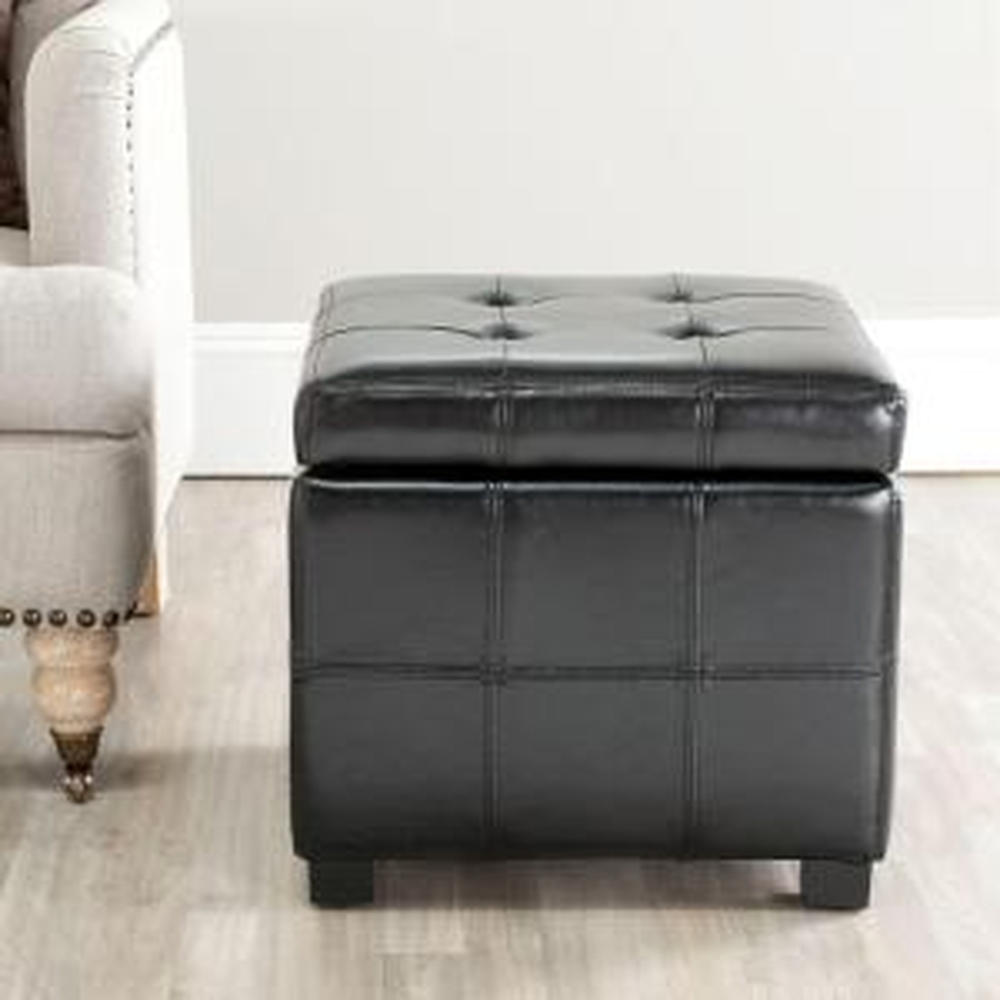 Strange Safavieh Kerrie Black Storage Ottoman Hud8231B The Home Depot Ibusinesslaw Wood Chair Design Ideas Ibusinesslaworg