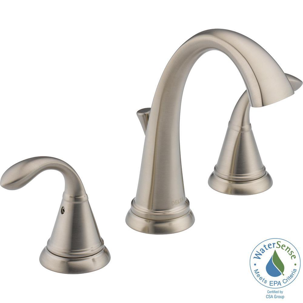 Delta Zella 8 in. Widespread 2-Handle Bathroom Faucet in Brushed ...