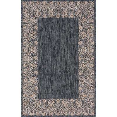Outdoor Floral Border Charcoal Gray 6 ft. x 9 ft. Area Rug