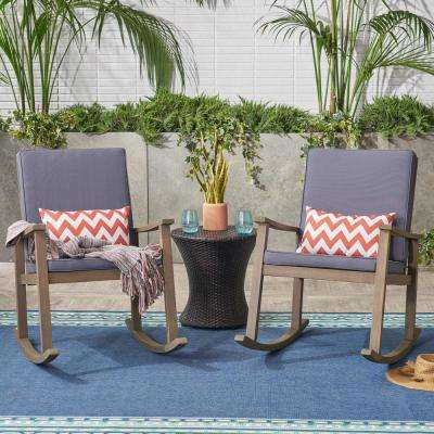 Candel Gray Wood Outdoor Rocking Chair with Dark Gray Cushions (2-Pack)