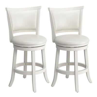 Woodgrove 25 in. Counter Height White Wood Swivel Barstools with White leatherette Seat and Backrest (Set of 2)