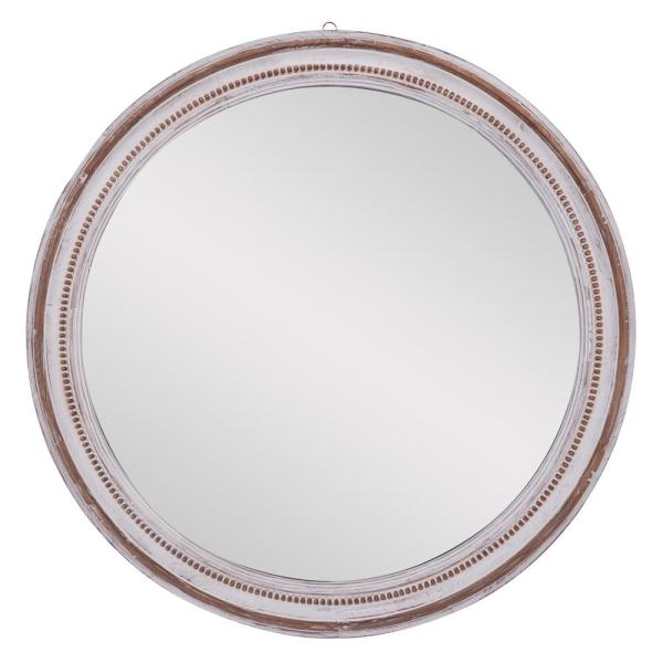 Large Round Wood Wall Mirror With Carved Beading Detail And Distressed White Finish, 36.5 in. x 36.5 in.