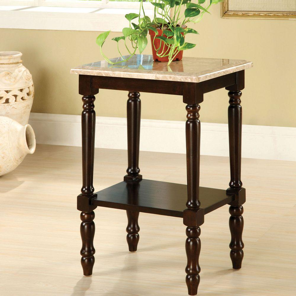 Venetian Worldwide Santa Clarita Dark Cherry Finish Marble Top Indoor Plant Stand