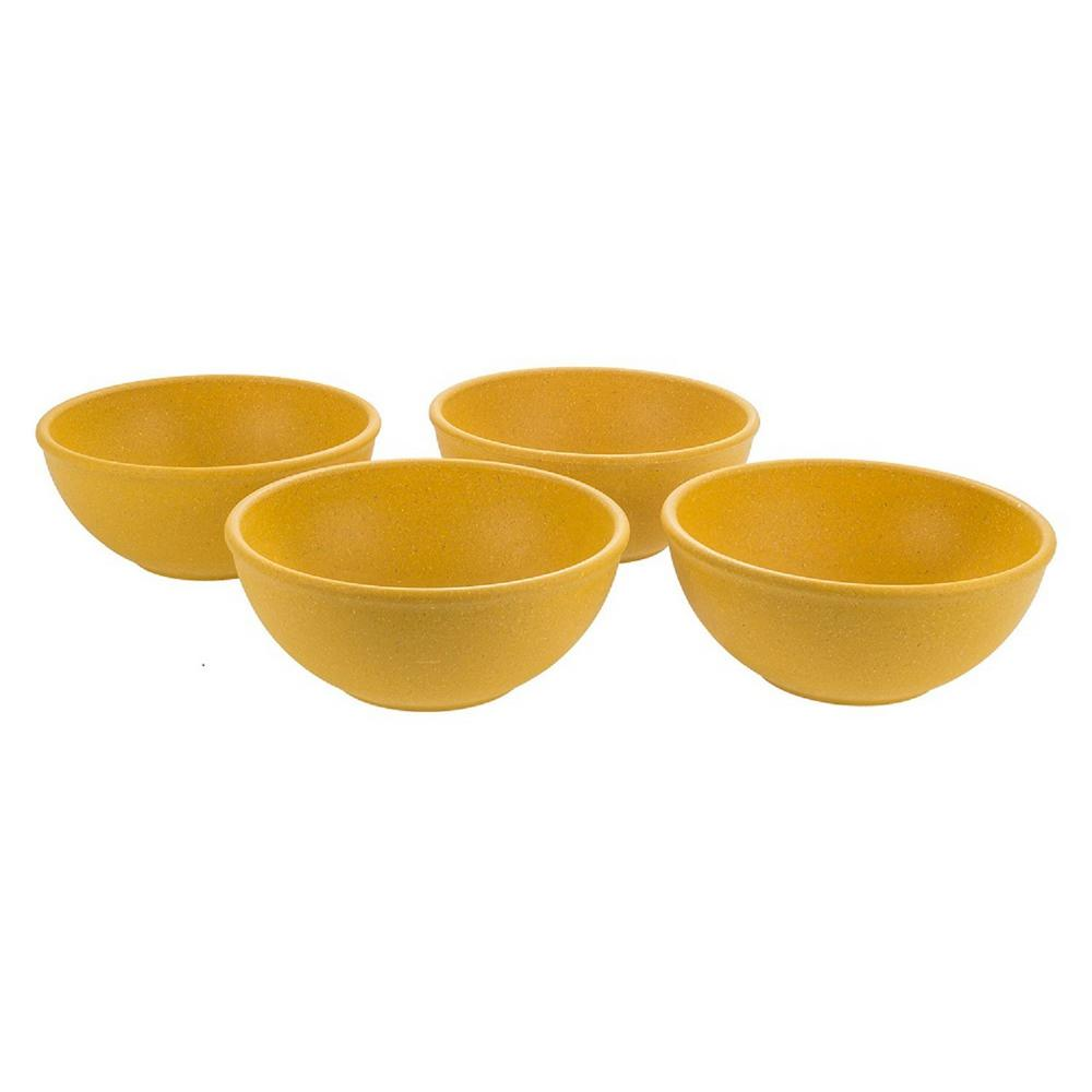 EVO Sustainable 16 oz. Goods Yellow Eco-Friendly Wood-Plastic Composite Bowl