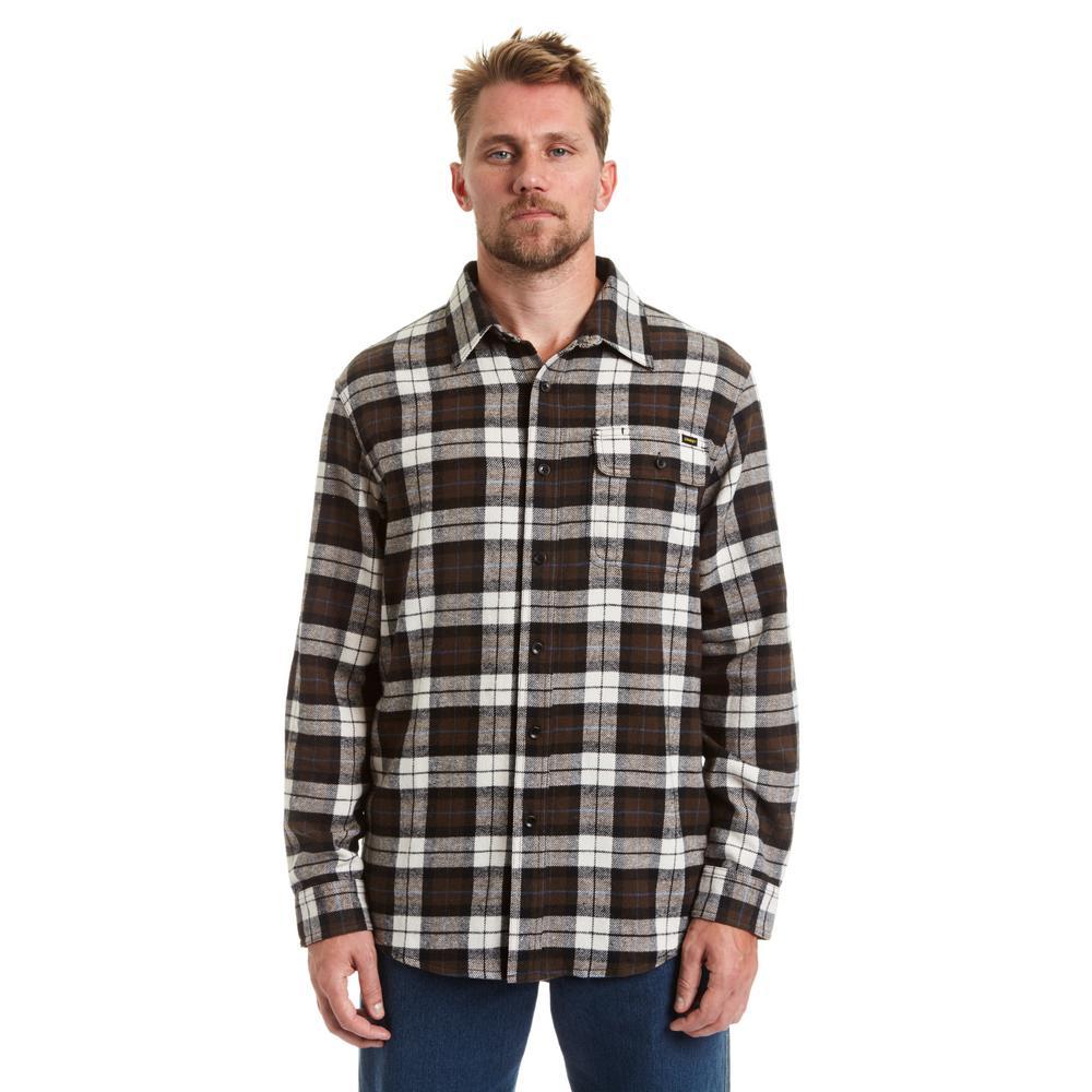 Men's 2X-Large Espresso Button Front Flannel Shirt