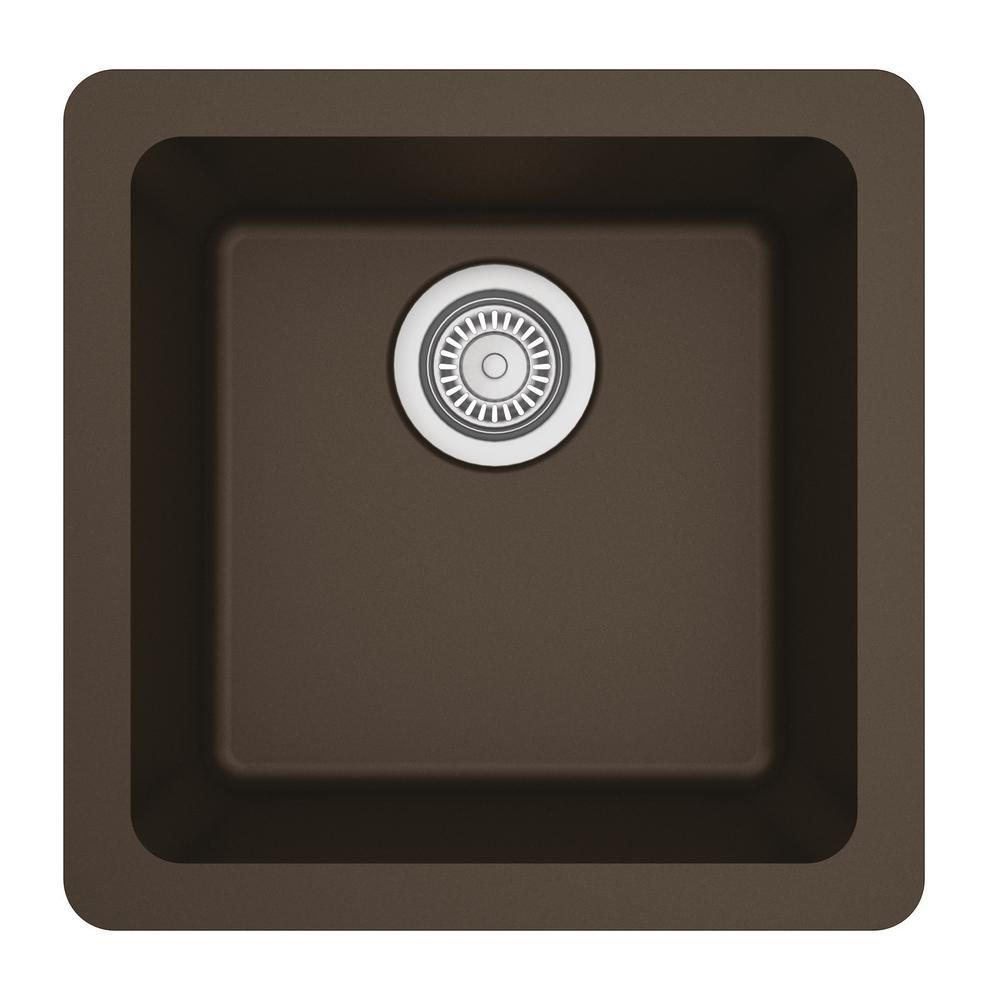 Undermount Quartz Composite 17 in. Bar Single Bowl Sink in Brown