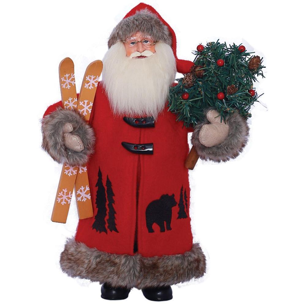 15 in. Black Bear Santa with Tree