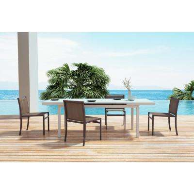 Mayakoba Brown Stationary Aluminum Outdoor Dining Chair (2-Pack)