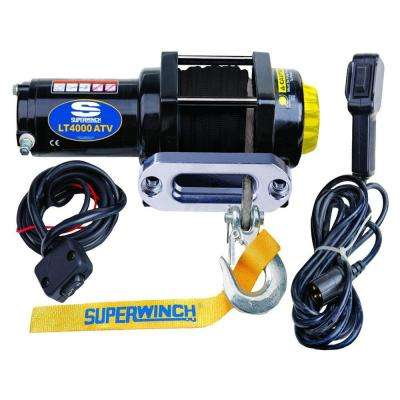 LT4000 12-Volt ATV SR Winch with 50-Foot Dyneema Synthetic Rope, 4-Way Roller Fairlead and 12-Foot Remote