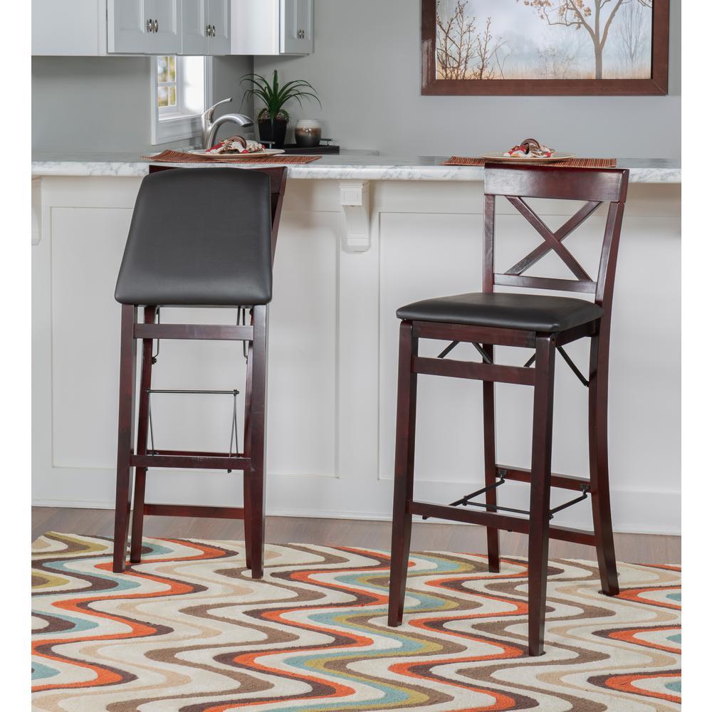 Pleasing Linon Home Decor Triena 30 In Espresso X Back Folding Bar Squirreltailoven Fun Painted Chair Ideas Images Squirreltailovenorg