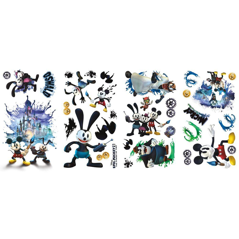null 10 in. x 18 in. Mickey and Friends - Epic Mickey 2 - 33-Piece Peel and Stick Wall Decals