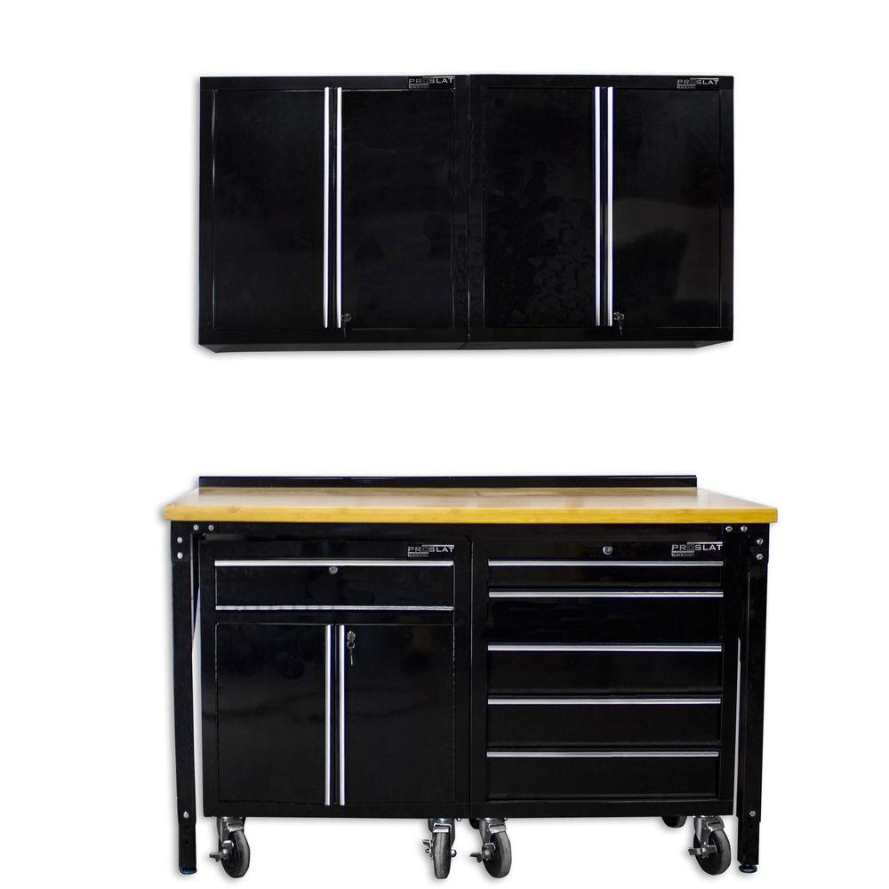 Proslat 60 in. L x 24 in. W Bench 30 in. L x 15 in. W Wall and 29 in. L x 30 in. W Floor Garage Cabinet Set (5-Piece)