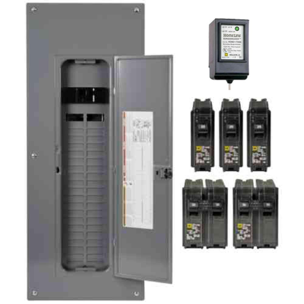 Square D Square D Homeline 200 Amp 40-Space 80-Circuit Indoor Main Breaker Plug-On Neutral Load Center with Surge SPD