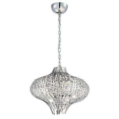Monica 6-Light Chrome and Clear Chandelier