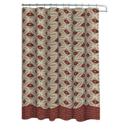 Oxford Weave Textured 70 in. W x 72 in. L Shower Curtain with Metal Roller Hooks in Hartford Barn/Linen