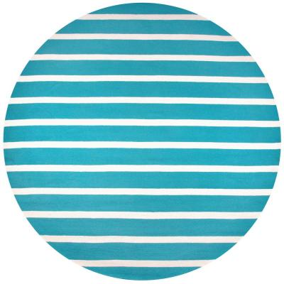 Azzura Hill Teal Striped 8 ft. x 8 ft. Round Outdoor Area Rug