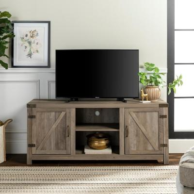 Barn Door 58 in. Gray Wash MDF TV Stand 60 in. with Doors