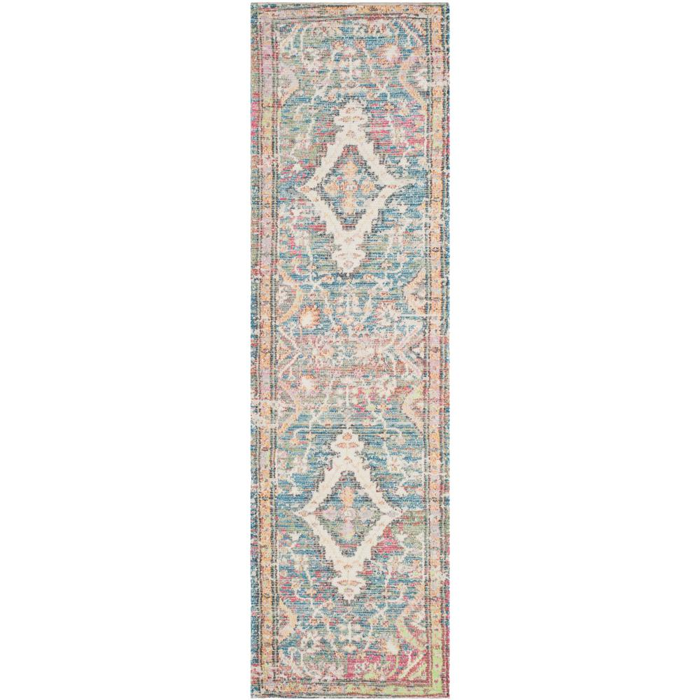 Safavieh Saffron Turquoise/Peach 2 Ft. 3 In. X 12 Ft