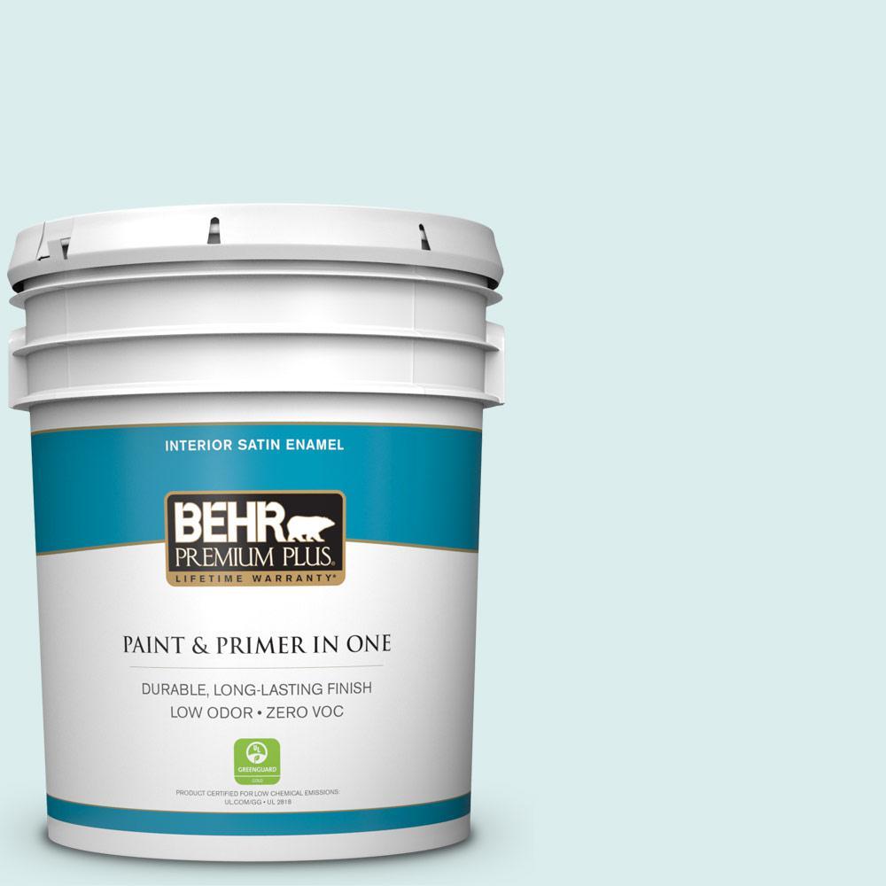 BEHR Premium Plus 5-gal. #520C-1 Spring Rain Zero VOC Satin Enamel Interior Paint