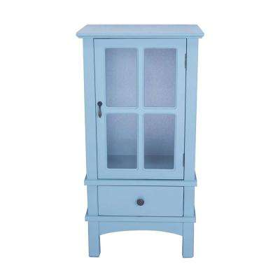 Shelly Assembled Aqua Wood 18 in. x 18 in. x 13 in. Glass Accent Cabinet with a Door