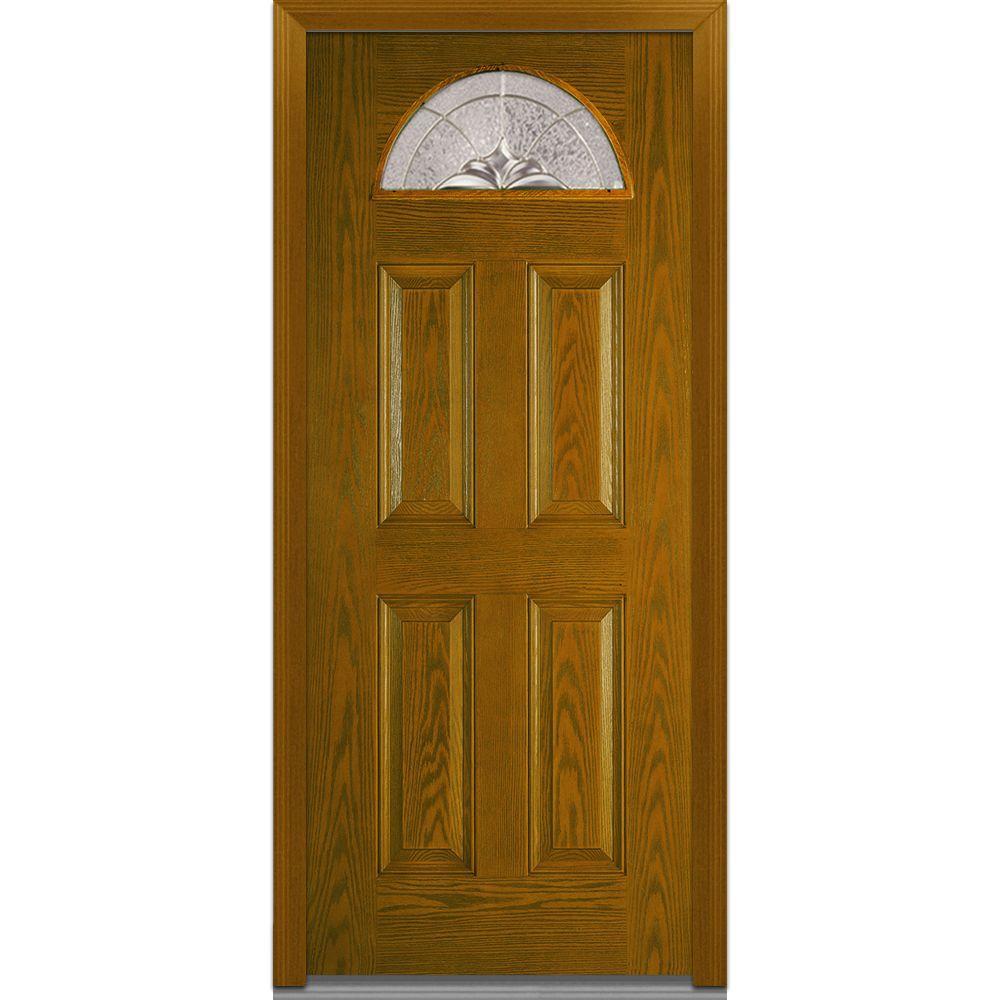 MMI Door 32 in. x 80 in. Heirloom Master Right Hand 1/4 Lite 4-Panel Classic Stained Fiberglass Oak Prehung Front Door