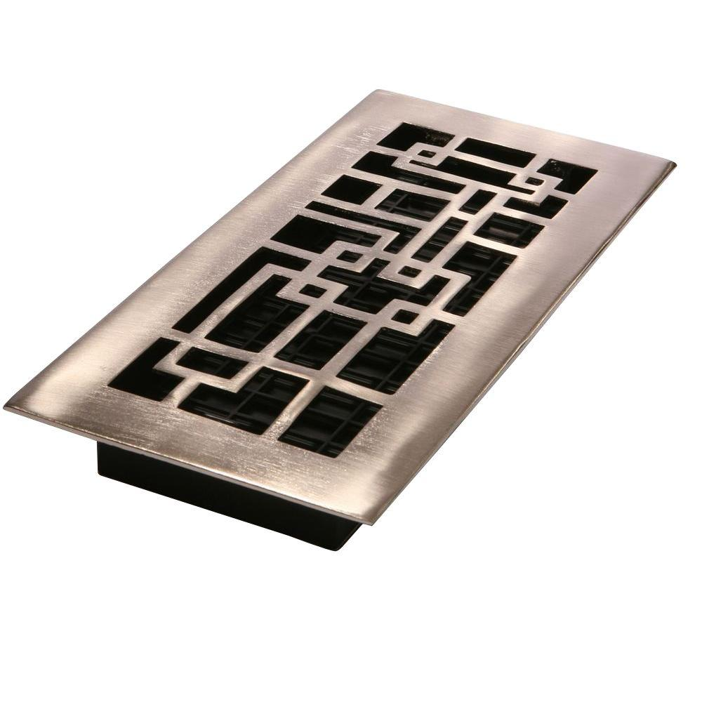 Decor Grates 4 in. x 12 in. Brushed Nickel Solid-Brass Arts and Crafts Register