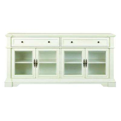 Bufford Rubbed Ivory Storage Entertainment Center