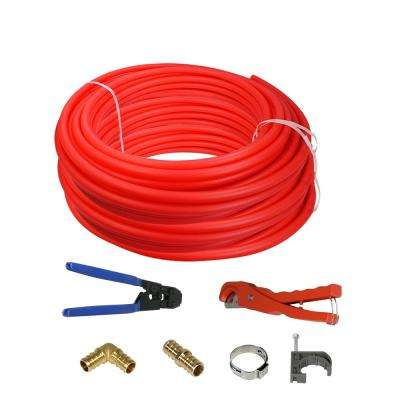 1/2 in. x 1000 ft. PEX Tubing Plumbing Kit with Crimper, Cutter Tools Barb Elbow Straight Coupling and Plug, Full Strap