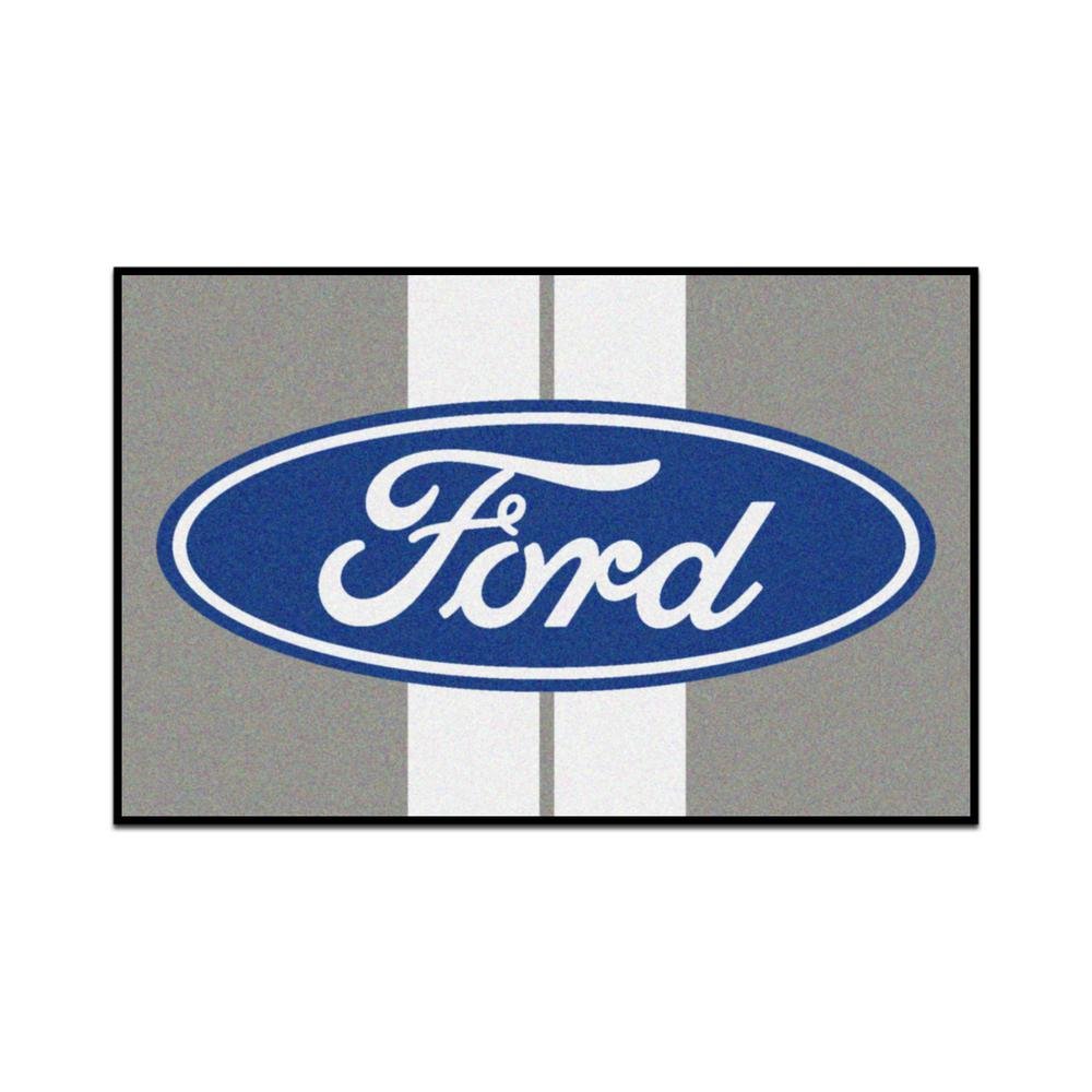 Fanmats Ford Ford Oval With Stripes Gray 1 Ft 7 In X 2