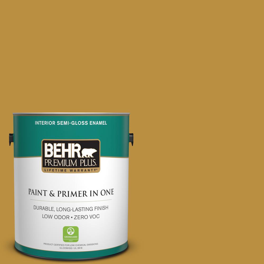 1-gal. #340D-6 Fervent Brass Zero VOC Semi-Gloss Enamel Interior Paint
