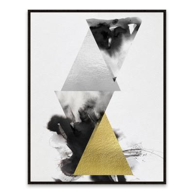 """23 in. x 29 in. """"Pyramid Silver"""" by Nikki Chu Hand Embellished Foil Framed Printed Canvas Wall Art"""