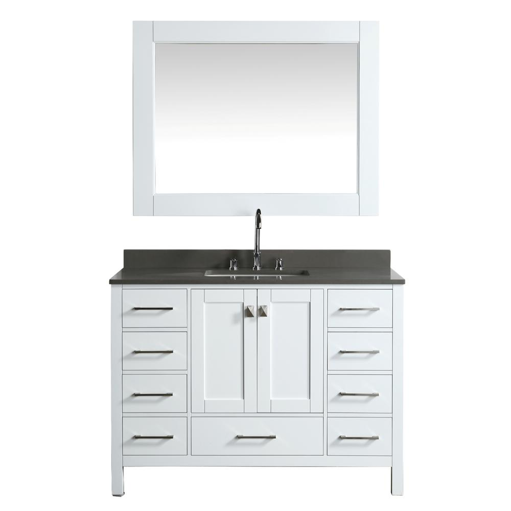 Design Element London 48 in. W x 22 in. D Vanity in White with Quartz Vanity Top in Gray with White Basin and Mirror