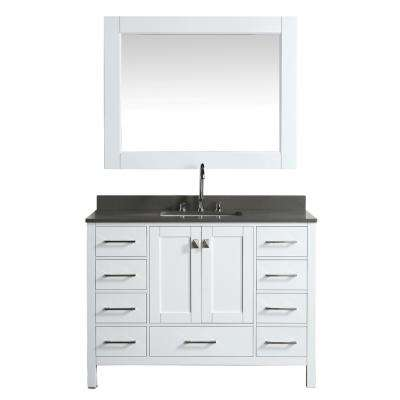 London 48 in. W x 22 in. D Vanity in White with Quartz Vanity Top in Gray with White Basin and Mirror
