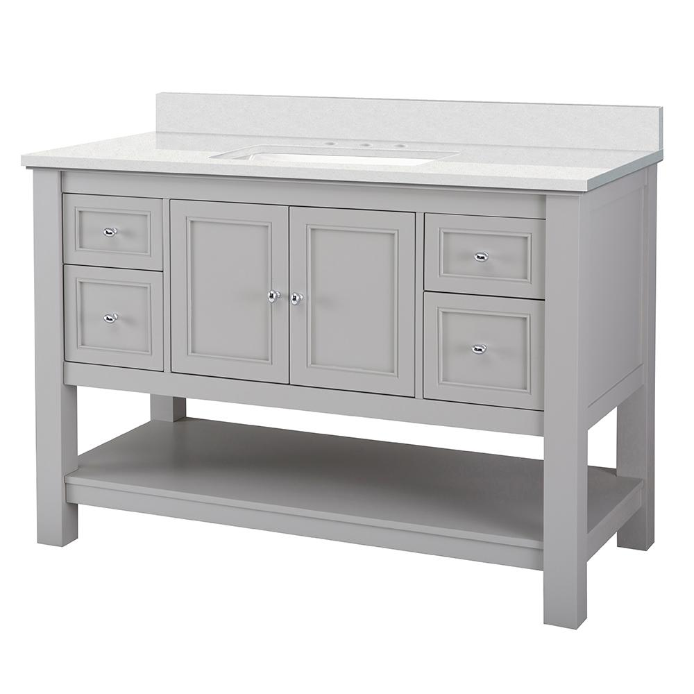 Home Decorators Collection Gazette 49 in. W x 22 in. D Bath Vanity in Grey with Engineered Marble Vanity Top in Snowstorm with White Sink