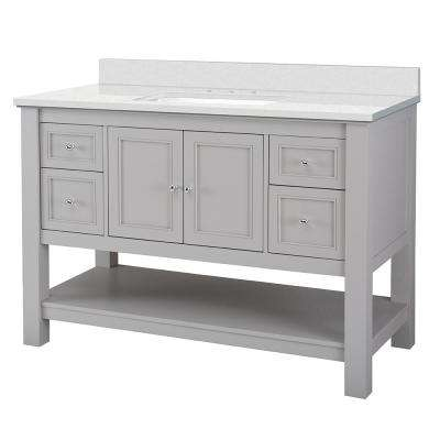 Gazette 49 in. W x 22 in. D Bath Vanity in Grey with Engineered Marble Vanity Top in Snowstorm with White Sink