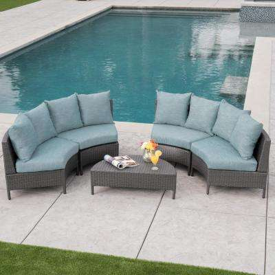 5-Piece Wicker Patio Sectional Seating Set with Teal Cushions