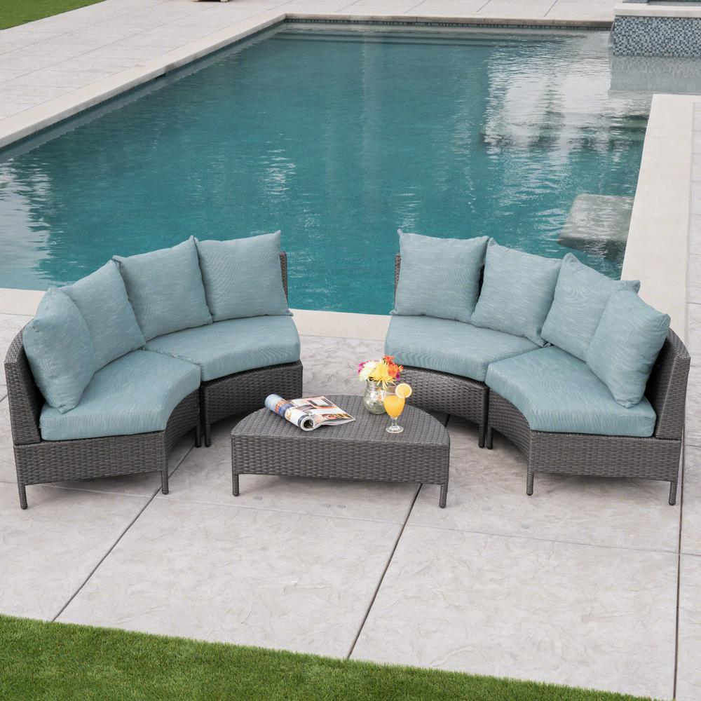 Noble House 5-Piece Wicker Patio Sectional Seating Set ... on 5 Piece Sectional Patio Set id=43500