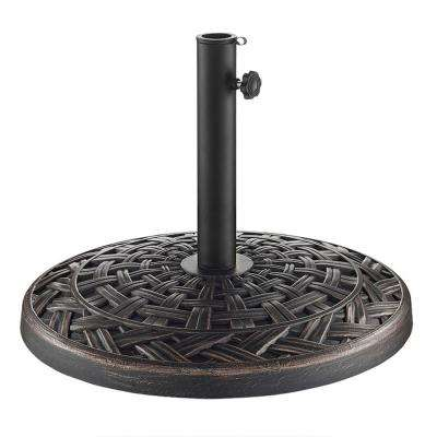Cross Weave Round Metal Patio Umbrella Base in Antique Bronze