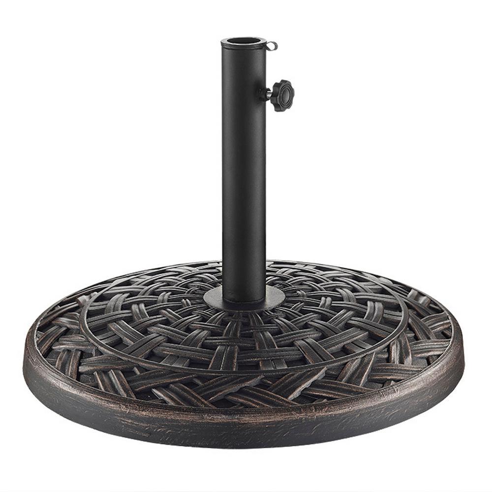 Cross Weave Round Metal Patio Umbrella Base in Antique Bronze