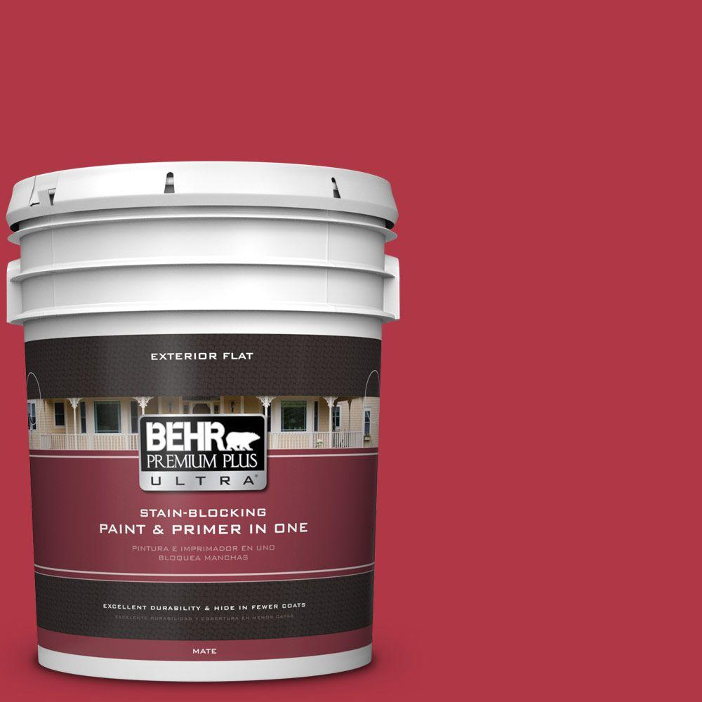 BEHR Premium Plus Ultra 5-gal. #140B-7 Frosted Pomegranate Flat Exterior Paint