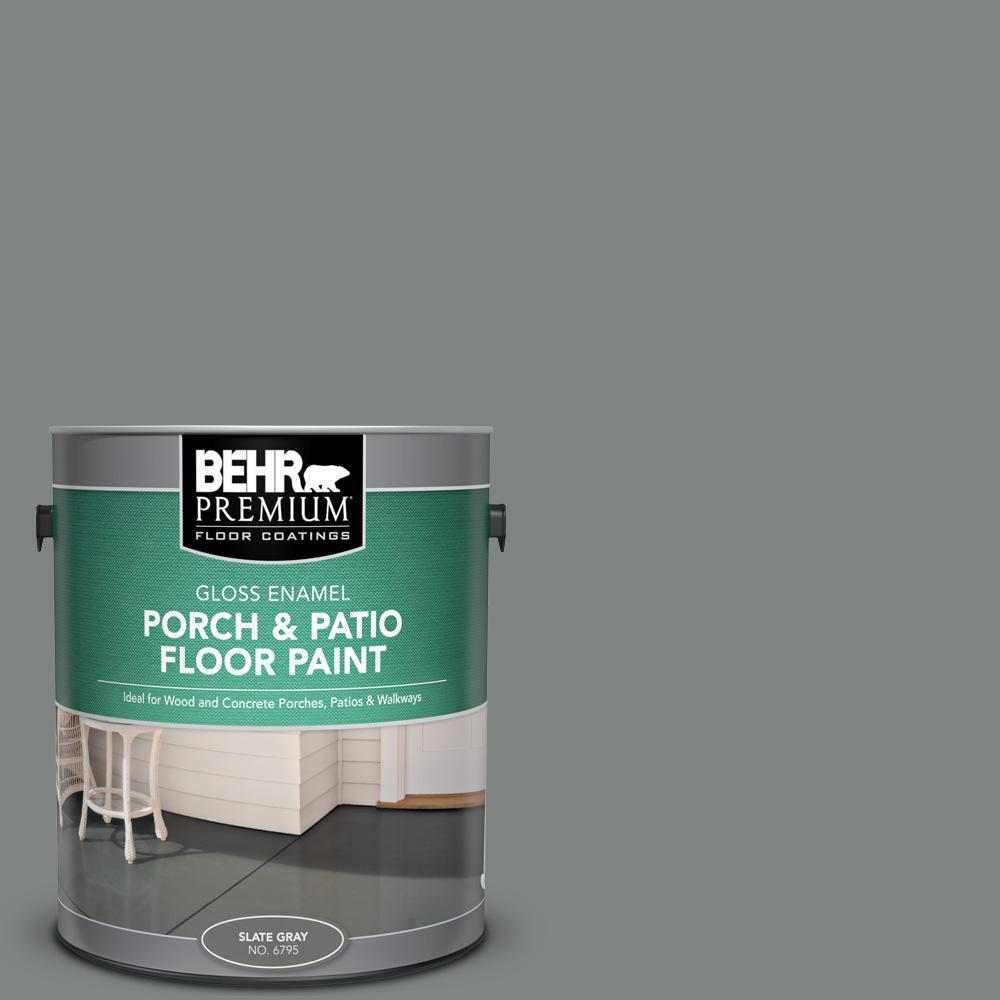 BEHR Premium 1 gal. #PFC-63 Slate Gray Gloss Enamel Interior/Exterior Porch and Patio Floor Paint