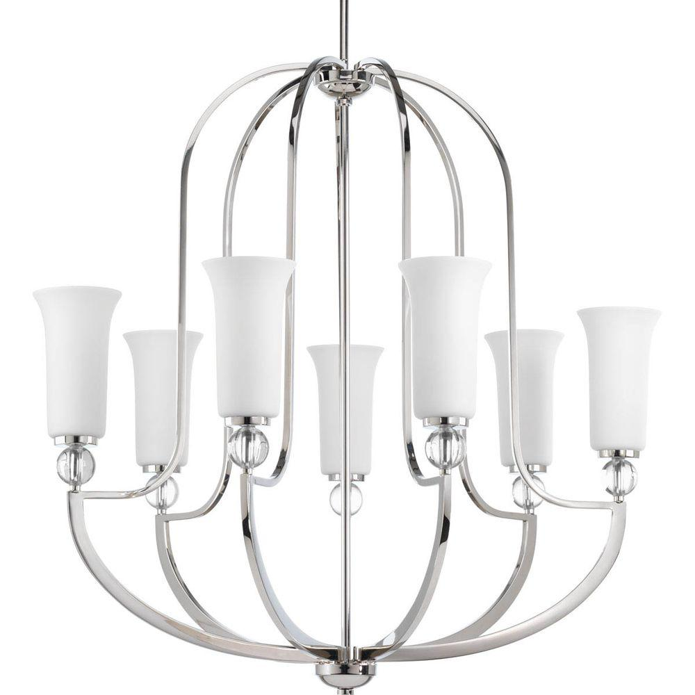 Progress Lighting Elina Collection 7-Light Polished Nickel Chandelier with Opal Glass