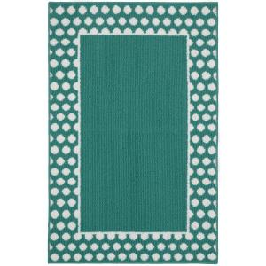 Garland Rug Polka Dot Frame Teal/White 2 ft. 6 inch x 3ft. 10 inch Accent Rug by Garland Rug