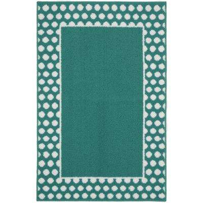 Polka Dot Frame Teal White 3 Ft X 4 Area Rug