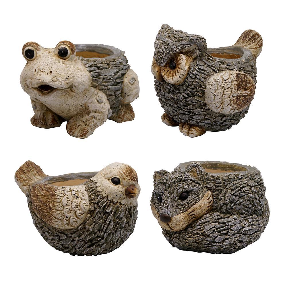 Alpine Corporation Magnesia Cement Owl, Frog, Bird, Fox Animal Planters-Asst. Master (Pack of 4)