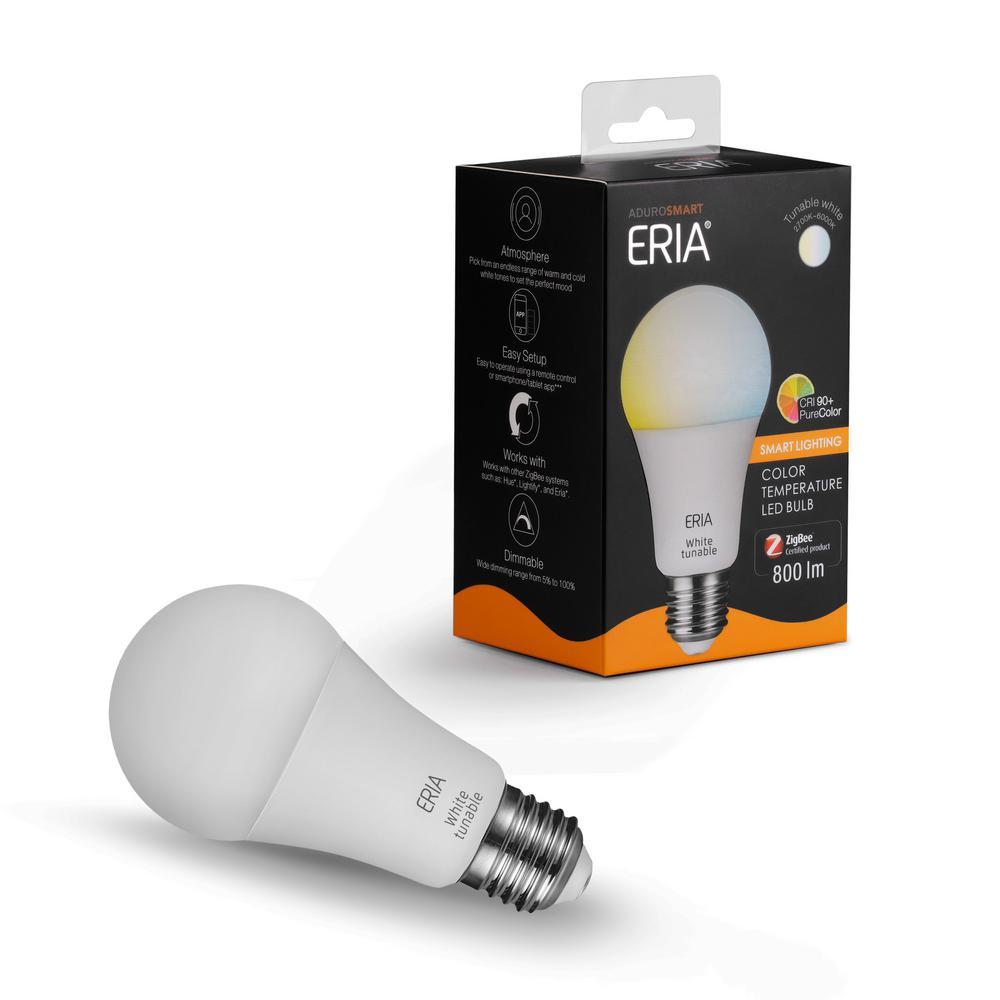 ERIA Tunable White 60-Watt Equivalent A19 Dimmable CRI 90+ Wireless Smart LED Light Bulb