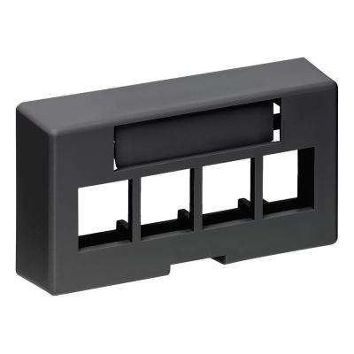 QuickPort 4-Port Modular Furniture Extended Depth Faceplate, Black
