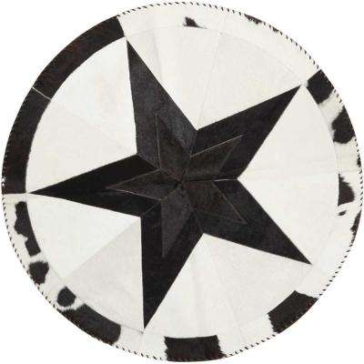 Southern Star Black/White 4 ft. x 4 ft. Round Area Rug