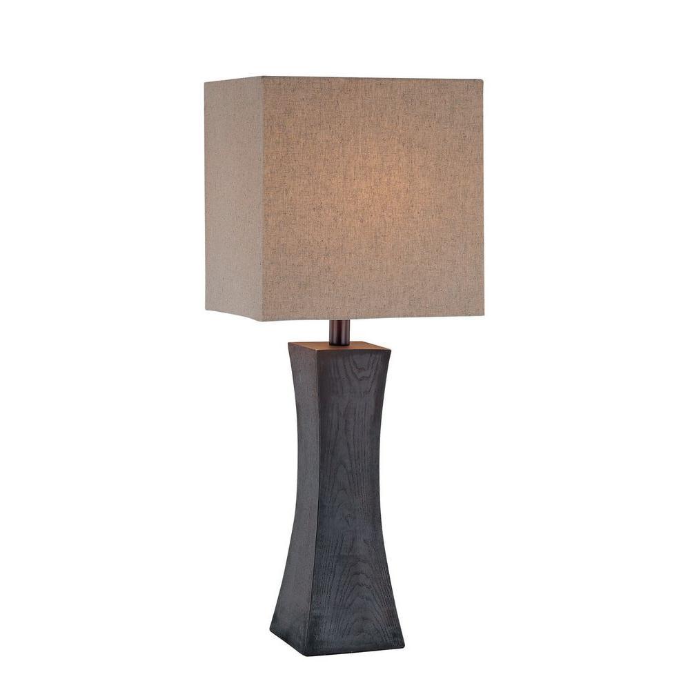 Illumine 27 in. Dark Walnut Table Lamp