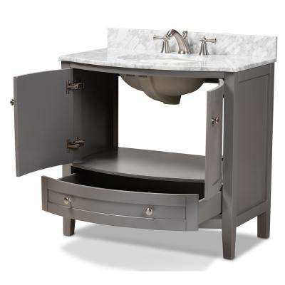 Nicole 36 in. W x 34.7 in. H Bath Vanity in Gray with Vanity Top in White with High Gloss White Basin